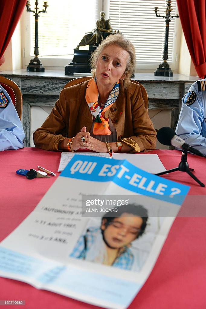 Blois' prosecutor, Dominique Puechmaille speaks during a press conference on September 24, 2012 in Blois to announce that she reopens the case of an unidentified three or four-year-old girl found dead on August 11, 1987 on the motor highway A10, near Blois.