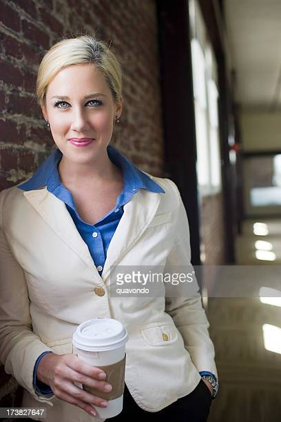 Blond Businesswoman Portrait at Office, Holding Coffee Cup, Copy Space