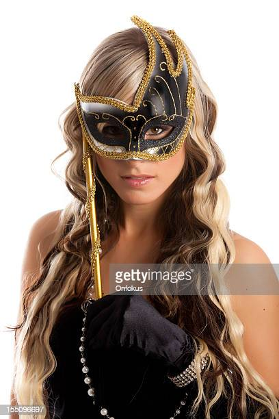 Blond Hair Young Women With Venetian mask Isolated on White