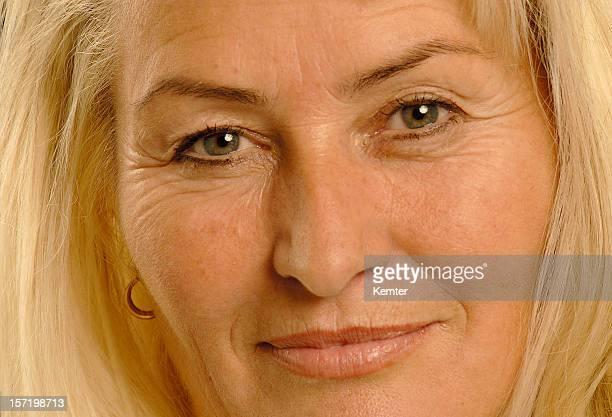 blond lady close up