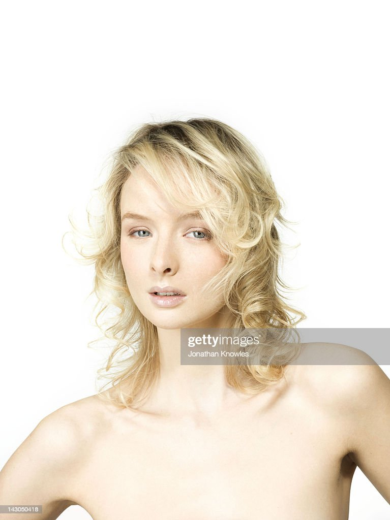 Blond nude female beauty portrait : Stock Photo