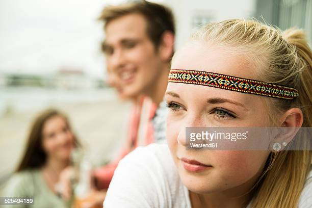 Blond teenage girl outdoors