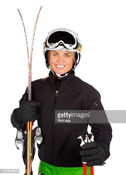 Femme blonde skieur