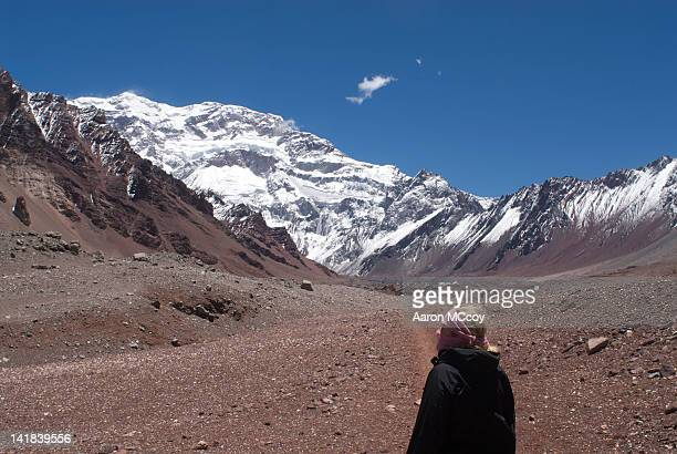 Blond woman wearing scarf, Mt. Aconcagua, Argentina