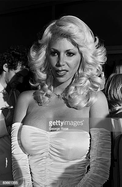 A blonde and buxom porn star arrives at the 1980 Hollywood California Adult Entertainment Awards held at the Palladium