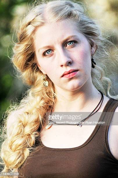 Blonde blue eyed model with large loose braid