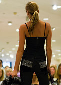 blonde fashion model from behind