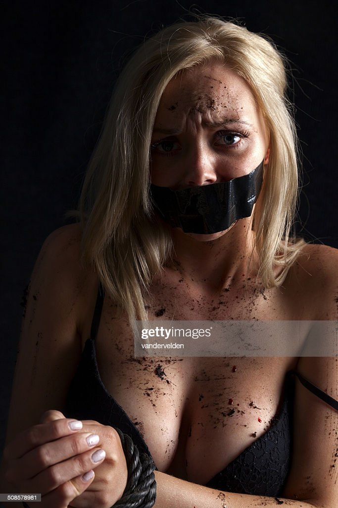 Blonde Gagged And Bound : Stock Photo