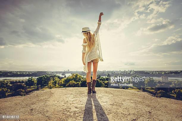 Blonde girl enjoying the view