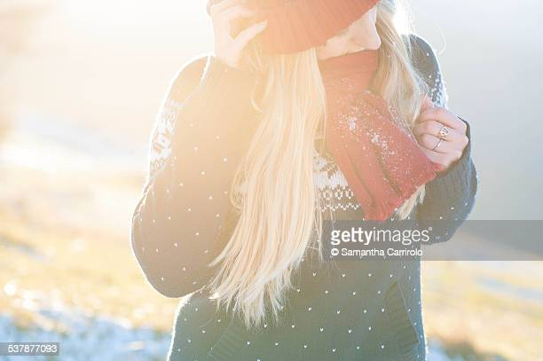 Blonde Girl Sunny Day Red Scarf & Hat Winter mood