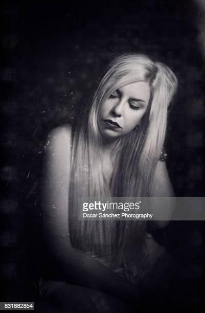 Blonde hair woman portrait