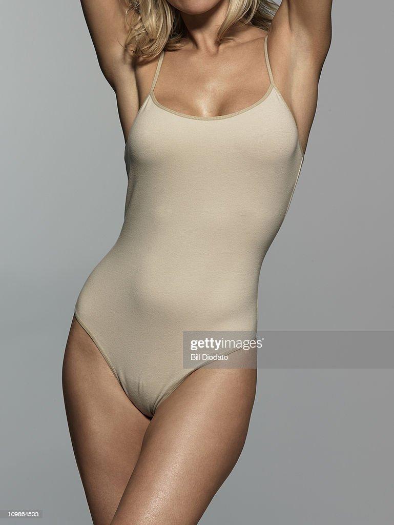 Blonde in One Piece Underwear