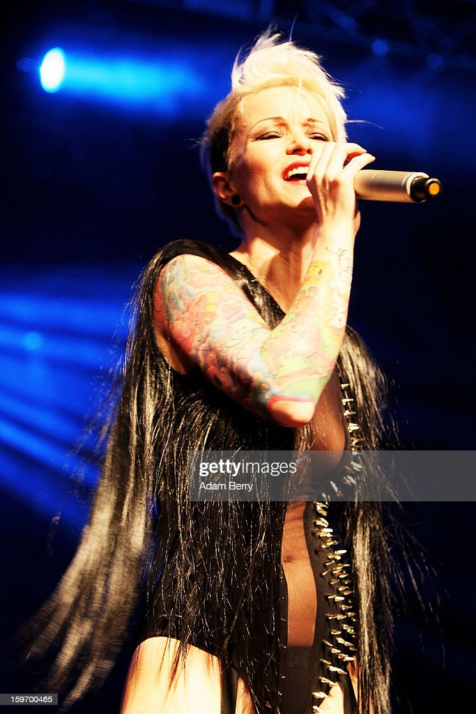Blonde Ink performs during the 'Kat von D Los Angeles' Fashion Show at the Kesselhaus on January 18, 2013 in Berlin, Germany.