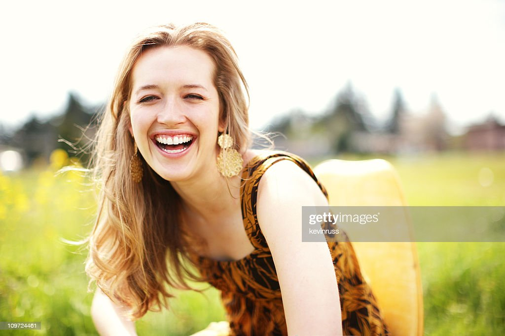 Blonde Laughing in the Sun : Stock Photo
