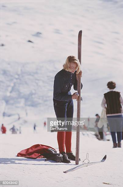 A blonde skier on the slopes at Verbier February 1964