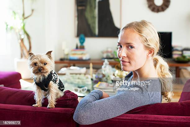 Blonde woman and small dog