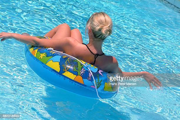 blonde woman in pool