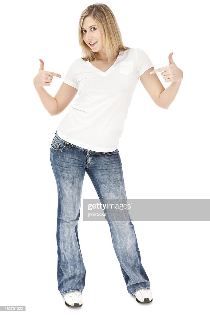Blonde Woman In White Tshirt And Jeans Stock Photo | Getty Images
