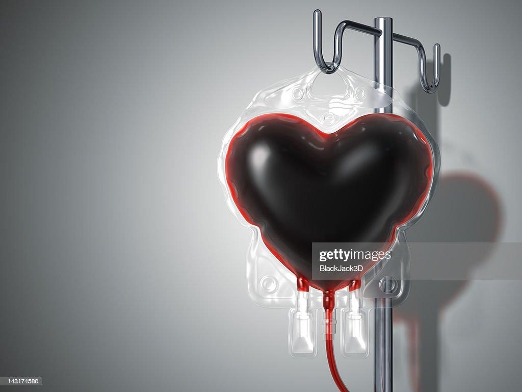Sachet de sang cœur. Don de Concept : Photo