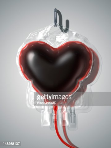 Blood Bag Heart. Donate Concept. : Stock Illustration