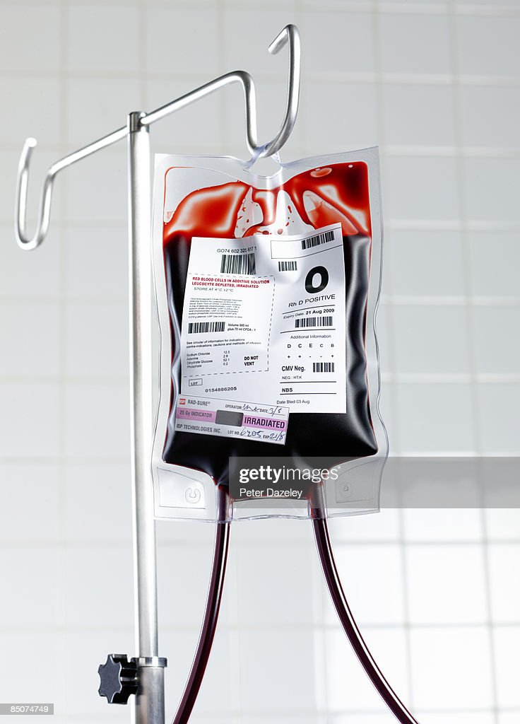 Blood bag on stand in hospital.