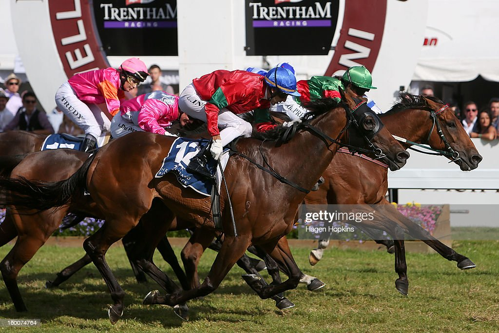 Blood Brotha ridden by Lisa Allpress beats Annie Higgins (12) ridden by Leith Innes to win the 2400m Pacific Jewellers Wellington Cup (Group II) during Wellington Cup Day at Trentham Racecourse on January 26, 2013 in Wellington, New Zealand.