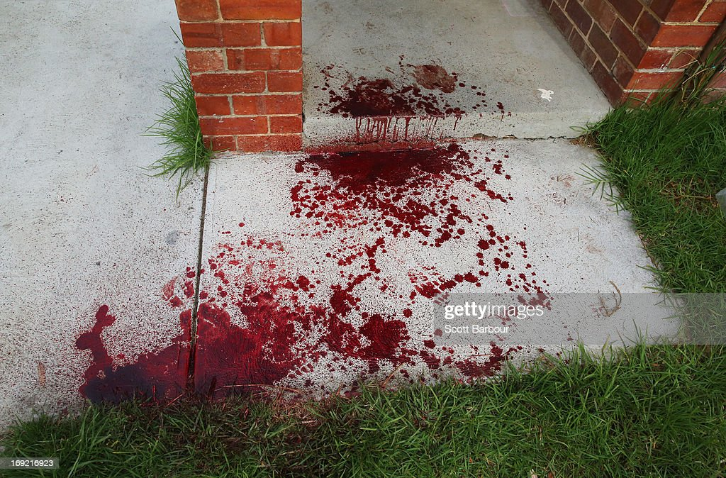 Blood covers the doorstep of Nathan Lovett-Murray's girlfriend's house where he was allegedly stabbed in Reservoir on May 22, 2013 in Melbourne, Australia. Essendon footballer Nathan Lovett-Murray was stabbed in the arm last night, allegedly after becoming involved in a domestic dispute. girlfriend