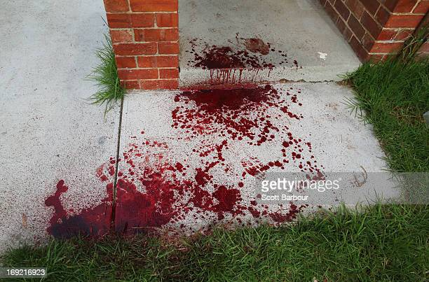 Blood covers the doorstep of Nathan LovettMurray's girlfriend's house where he was allegedly stabbed in Reservoir on May 22 2013 in Melbourne...