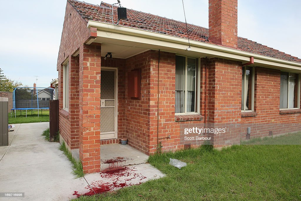 Blood covers the doorstep of Nathan Lovett-Murray's girlfriend's house where he was allegedly stabbed in Reservoir on May 22, 2013 in Melbourne, Australia. Essendon footballer Nathan Lovett-Murray was stabbed in the arm last night, allegedly after becoming involved in a domestic dispute.
