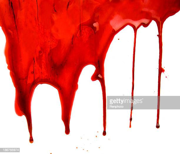 Blood Dripping on White Background