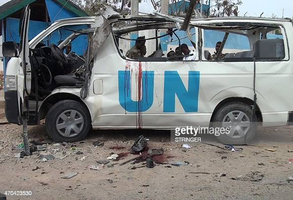 Blood is seen in the shell of a UN van following a bomb attack that killed at least six UN workers on April 20 2015 in the northeastern town of...