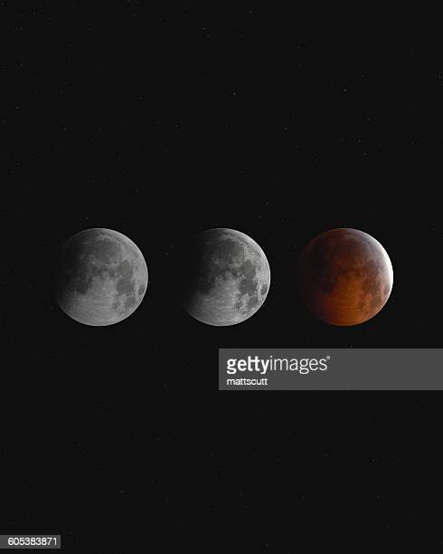 Blood moon eclipse at night, England, UK