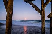 A 'blood moon' rises over the Atlantic Ocean.