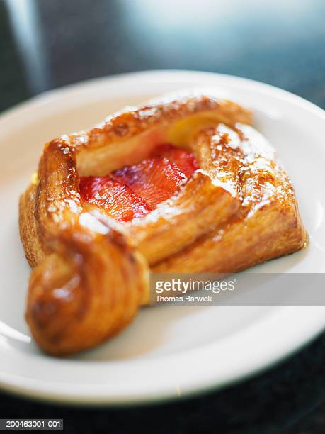 Blood orange and cream Danish pastry, elevated view