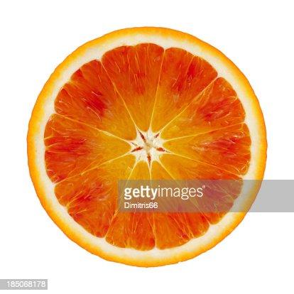 Blood orange portion on white