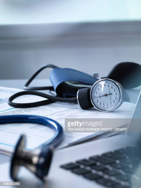 Blood pressure gauge and stethoscope