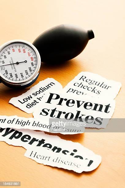 Blood pressure gauge with heart health headlines