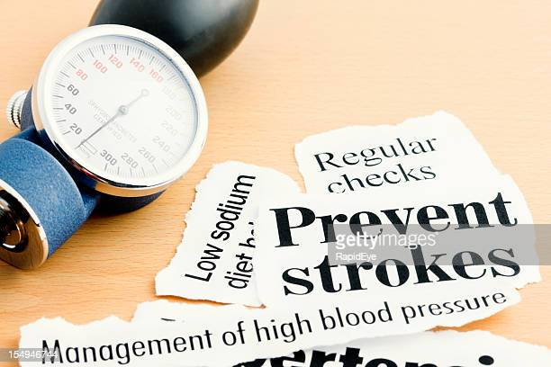 Blood pressure gauge with stroke prevention headlines