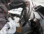 Blood stain are seen around the handle of a car suspect Satoshi Uematsu drove to turn in after stabbing to kill 19 people at a care home Tsukui...