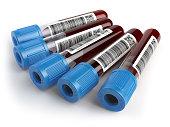 Blood test samples tubes isolaet on white background. 3d illustration