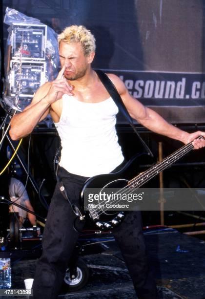 Bloodhound Gang bassist Evil Jared Hasselhoff performs on stage V2000 Festival United Kingdom 2000