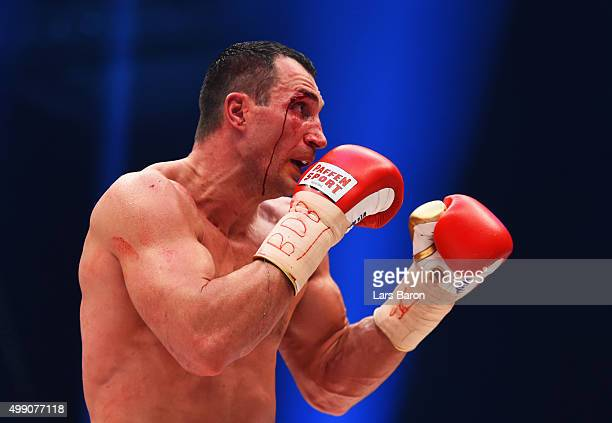A bloodied Wladimir Klitschko in action against Tyson Fury during the IBF IBO WBA WBO Heavyweight World Championship contest at EspritArena on...
