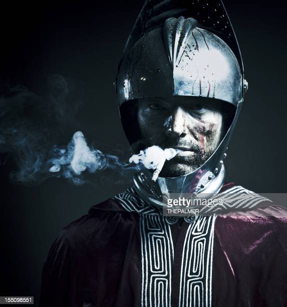 bloody knight having a cigarette