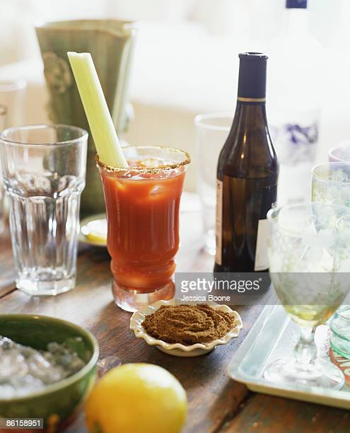 Bloody Mary on crowded table