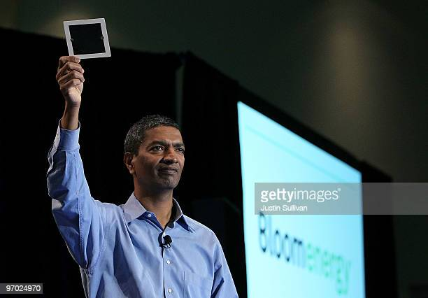 Bloom Energy CEO K R Sridhar holds a fuel cell as he speaks during a Bloom Energy product launch on February 24 2010 at the eBay headquarters in San...