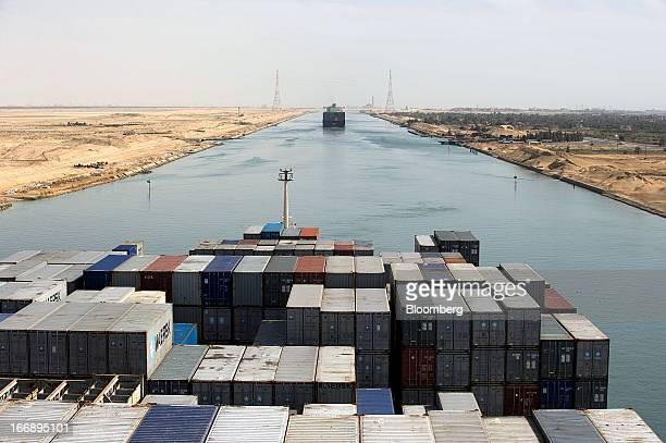 Bloomberg Photo Service 'Best of the Week' Shipping containers stand aboard the Ebba Maersk operated by AP MoellerMaersk A/S as it passes southbound...