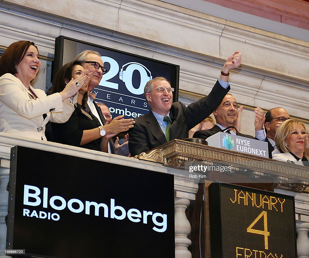 Bloomberg Radio host Tom Keene and reporter Charlie Pellett ring the NYSE Closing Bell in honor of Bloomberg Radio's 20th anniversary at the New York Stock Exchange on January 4, 2013 in New York City.