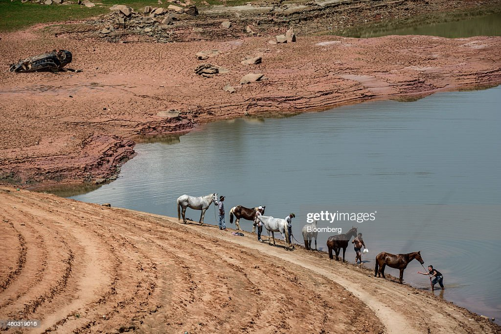Bloomberg's Best Photos 2014 A group of people on a church pilgrimage water their horses at the Jaguari Reservoir near Sao Jose dos Campos in the...