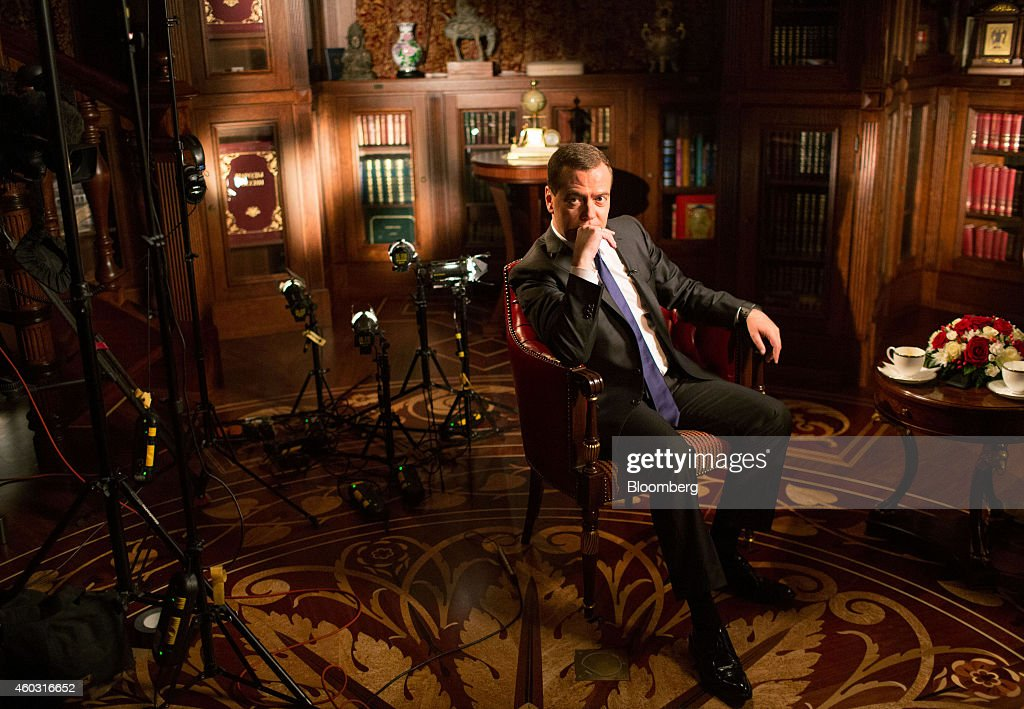 Dmitry Medvedev, Russia's prime minister, pauses during a Bloomberg Television interview at his residence in Gorki, near Moscow, Russia, on Monday, May 19, 2014. The government leader rebuked a communications official for saying in an interview published yesterday that Russia has the right to fully block online social networks if they don't uphold new legislation tightening control over the Internet. Photographer: Andrey Rudakov/Bloomberg via Getty Images