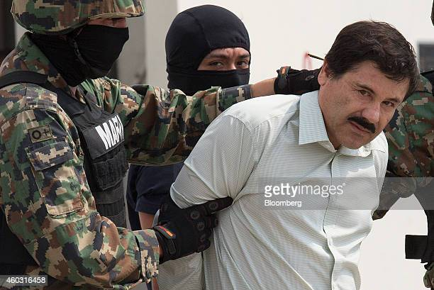 Bloomberg's Best Photos 2014 Drug trafficker Joaquin 'El Chapo' Guzman is escorted to a helicopter by Mexican security forces at Mexico's...